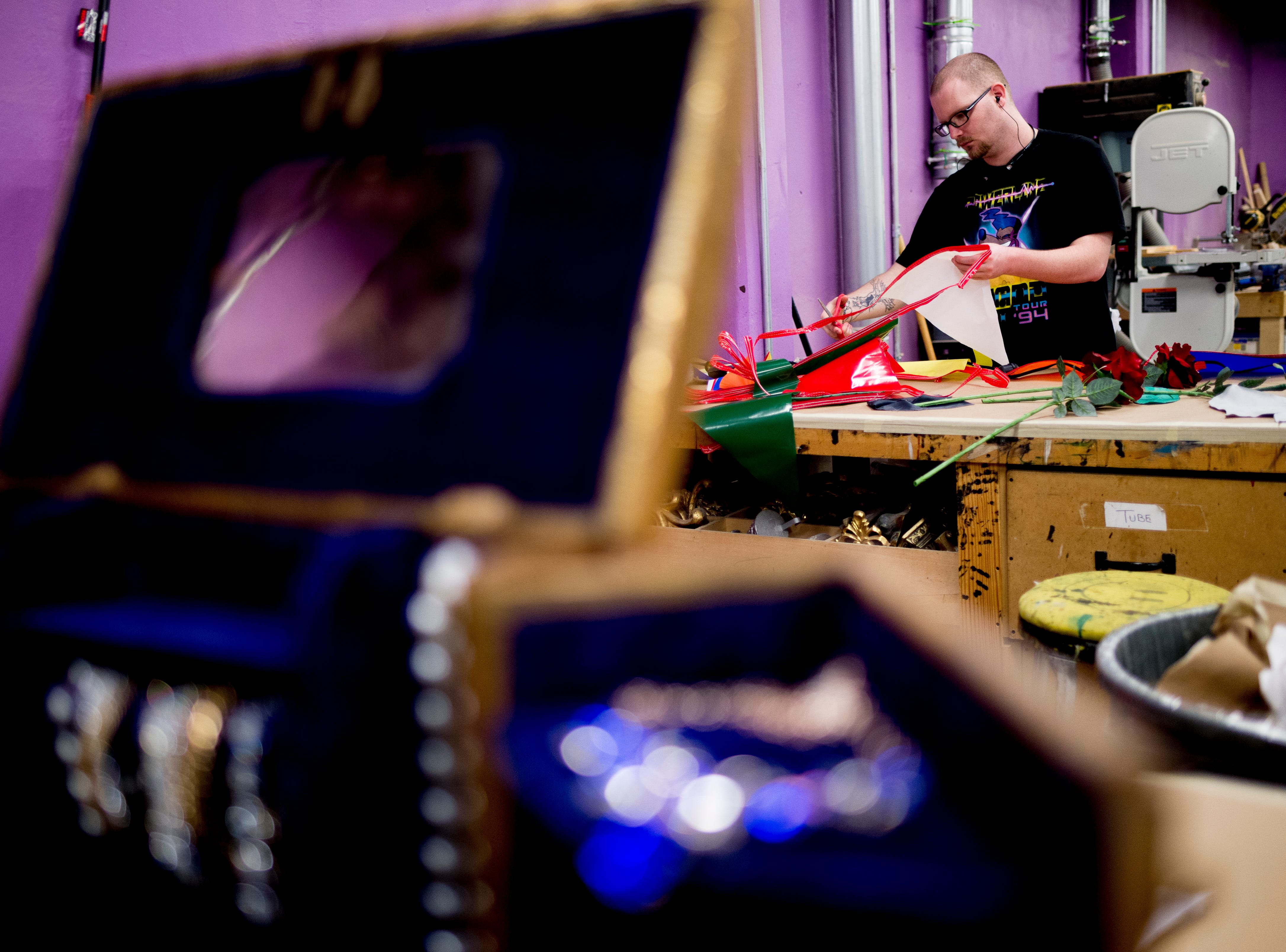 "A prop shop worker works on an item ahead of opening day for ""Candide"" at the Clarence Brown Theatre in Knoxville, Tennessee on Tuesday, August 14, 2018. Leonard Bernstein's acclaimed operetta is to open Friday, August 31, with previews beginning August 29."