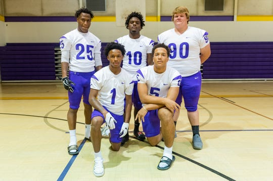 St Martinville defensive standouts include- Bailey Mitchell (25), Latrevon Wiltz (1), Markell Chambers (10), Marcus Cormier (5) and Justin Bourque (90)