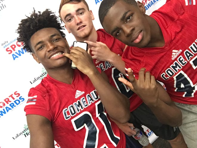 High school football players stop at our selfie station during the 2018 Prep Football Media Day at The Daily Advertiser on August 14, 2018.
