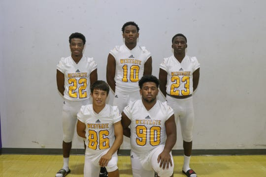 Westgate's defensive and special teams standouts include Connor Scott (86), Kenery Touriac (90), Johnathan Lewis (22), Ron Madison (10) and Cartez Joseph (23).