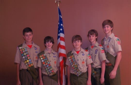 Five Boy Scouts from Our Lady of Fatima Troop 446 earned the rank of Eagle Scout. The scouts began their trail to eagle together as Cub Scouts. They were honored at a formal Eagle Court of Honor Ceremony on May 23. Pictured from left are Andrew Hicks, Russell Rucksthul, Jonathan Primeaux, Hunter Wagnon and Carver Montgomery.