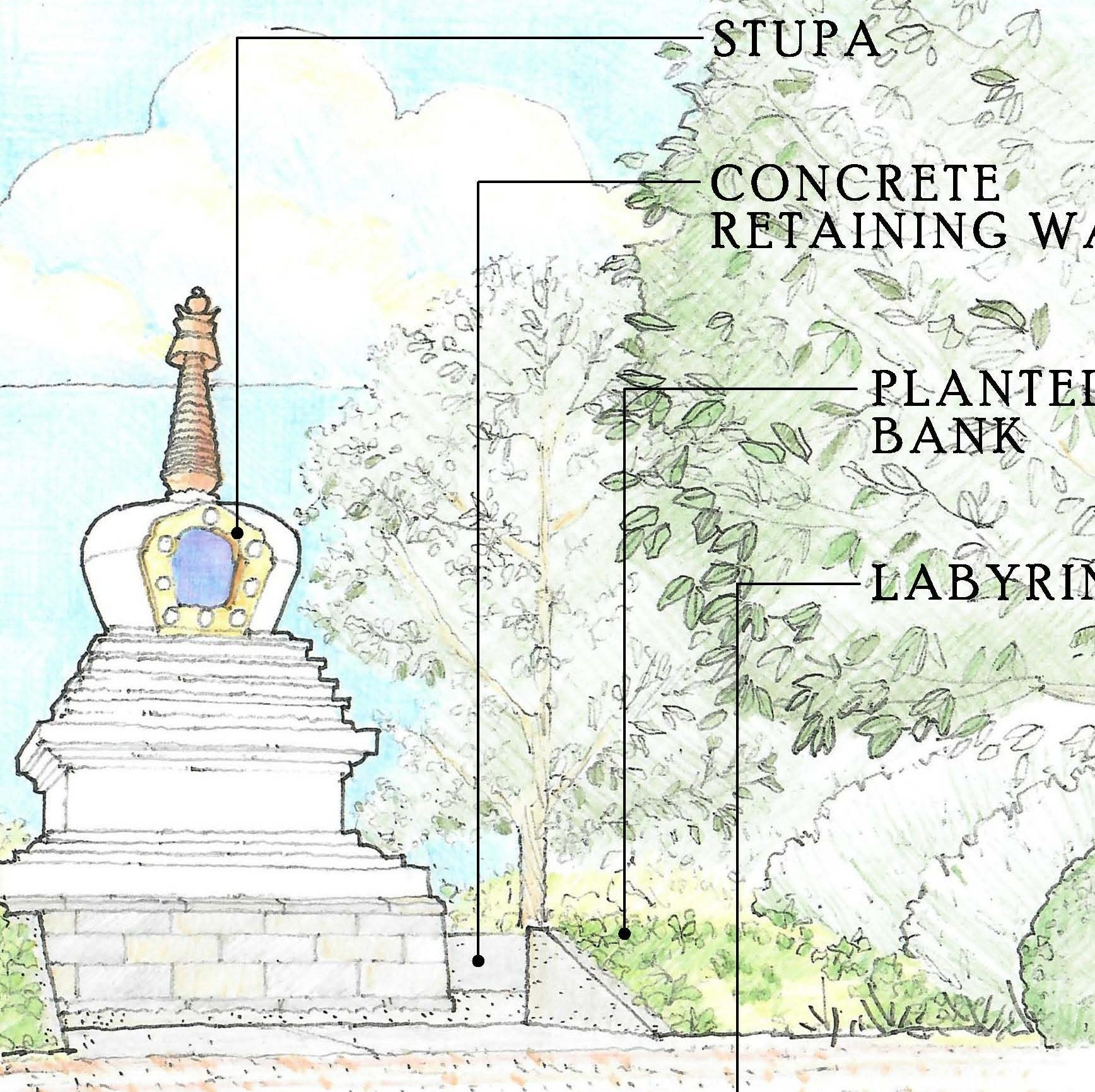 Spalding is building a meditation garden complete with a labyrinth