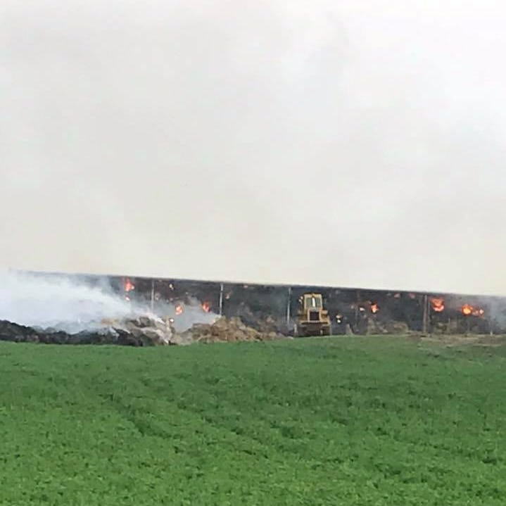 Firefighters from 4 counties battling huge barn fire near Pewamo