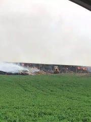 Lorraine Schmitz shared this photo on Facebook of a barn fire near Pewamo.