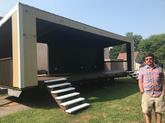 Sam Fitzgerald, 18, of DeWitt, shows his refurbished stage Aug. 13, 2018 to be used for the DeWitt Ox Roast. The stage was enclosed with an electrical upgrade for his Eagle Scout project.