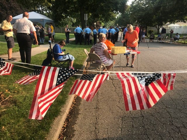 This gathering in the Lewton-Rich neighborhood was among 27 National Night Out events held Tuesday.