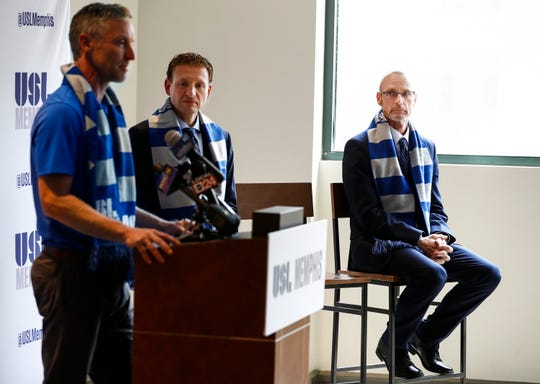 Tim Mulqueen (right) is announced as USL Memphis first head coach during a press conference at AutoZone Park.
