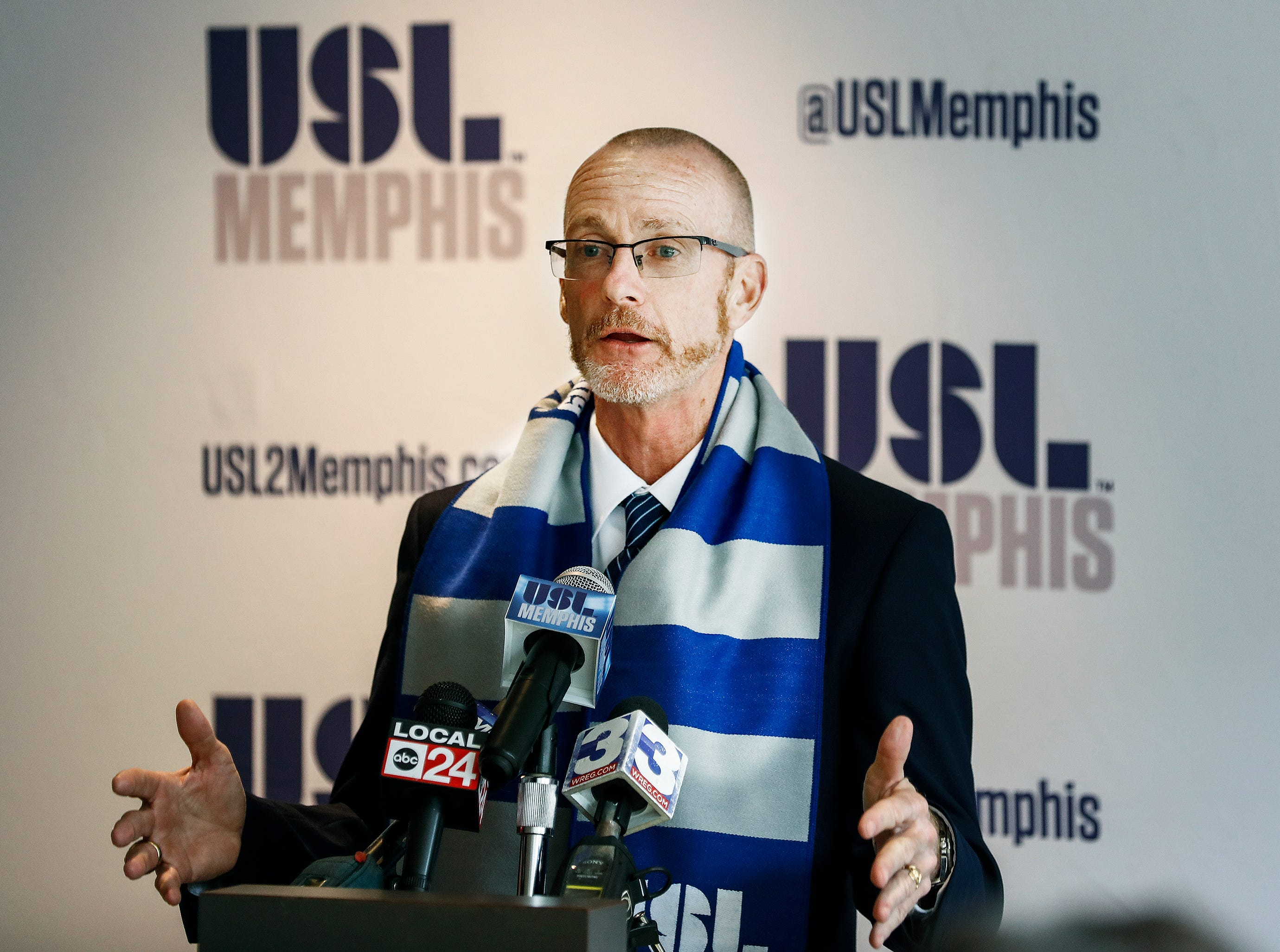 Tim Mulqueen is announced as USL Memphis first head coach during a press conference at AutoZone Park.