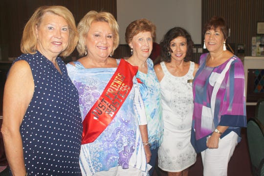 President Rachel DeHanas, Ruth Lee DeVaughn, Judy Stavola,  Marge Superits and Pam Cote look forward to fun afternoon.