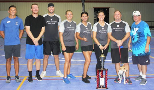 The runner-up team is the JW Marriott. From left, Chad Weber, Kurt Busch, Kristin Rotkvich, Liana Criscuoli, Juli Ronimous, Nick Wagner and Shawn the Mascot. Not pictured Nick Donatelli and Zion Kriel.