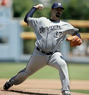 Milwaukee Brewers pitcher Jeff Suppan throws to a Los Angeles Dodgers batter in the first inning of a baseball game Sunday, Aug. 17, 2008, in Los Angeles.