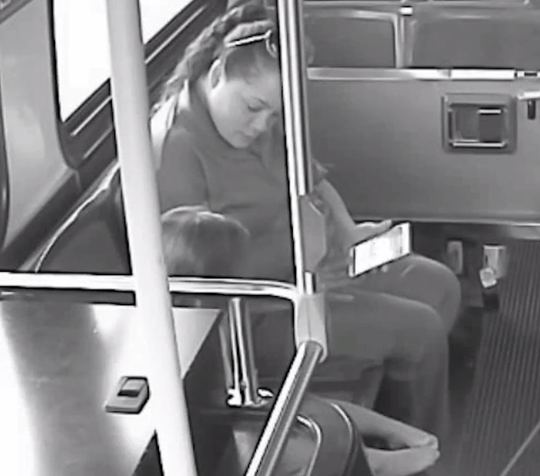 Milwaukee bus driver Diana Serrano keeps a lost 2-year-old girl calm on the bus by showing her photos of a puppy.