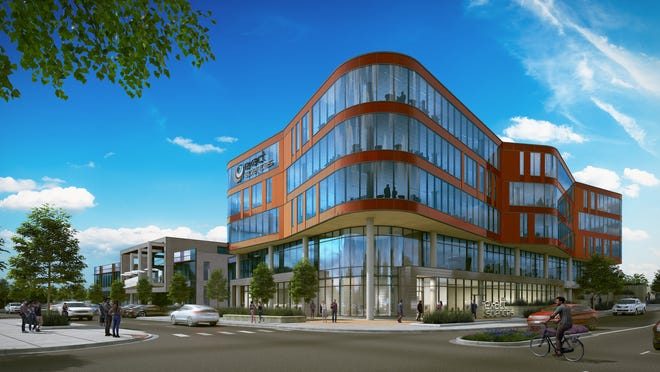 This rendering depicts the new corporate headquarters for Exact Sciences Corp. at the University Research Park in Madison.