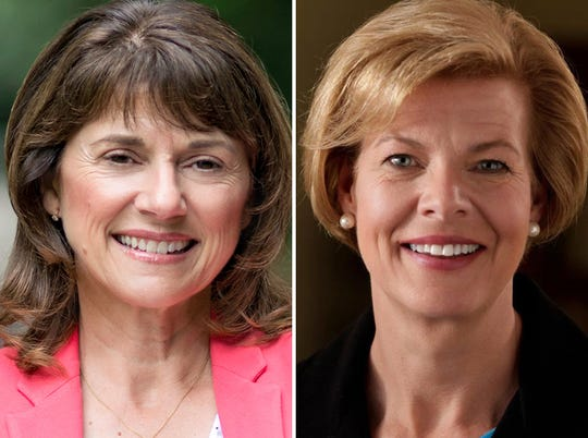 Leah Vukmir (left) and Tammy Baldwin (right)