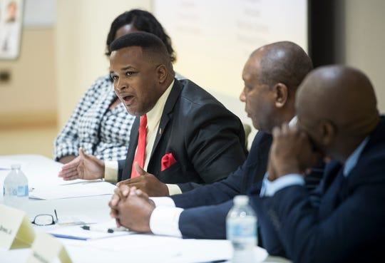 Ja'Mel Brown speaks to the crowd during a city council district 4 candidate forum in Montgomery, Ala., on Tuesday, Aug. 14, 2018.