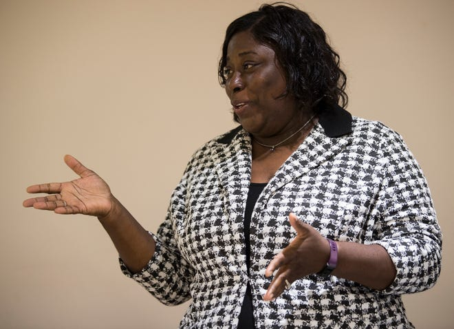 Audrey Graham speaks during a city council district 4 candidate forum in Montgomery, Ala., on Tuesday, Aug. 14, 2018.