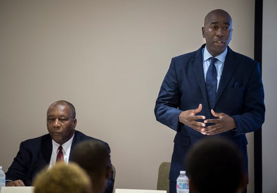 Quartez 'Dan' Harris speaks during a city council district 4 candidate forum in Montgomery, Ala., on Tuesday, Aug. 14, 2018.