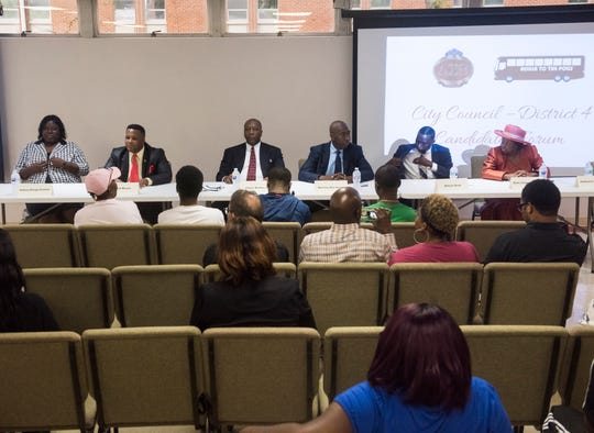 Candidates introduce themselves during the city council district 4 candidate forum in Montgomery, Ala., on Tuesday, Aug. 14, 2018.
