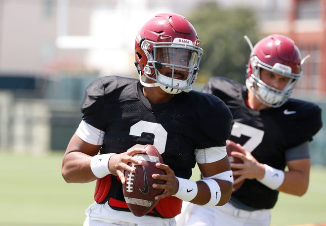 Alabama quarterback Jalen Hurts (2) is in a battle with Tua Tagovailoa for the starting job.