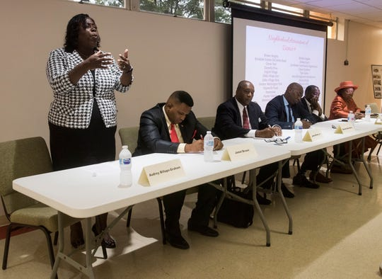 Audrey Graham speaks to the crowd during the city council district 4 candidate forum in Montgomery, Ala., on Tuesday, Aug. 14, 2018.