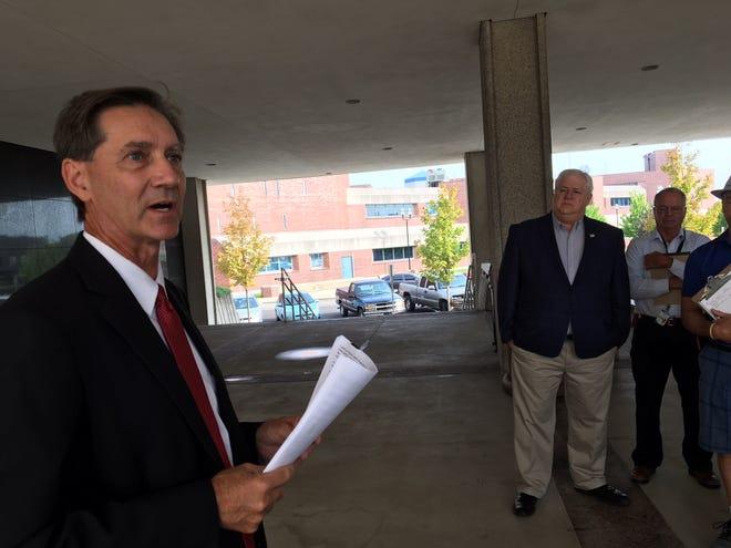 Muncie City Council member Dan Ridenour announces his mayoral bid.