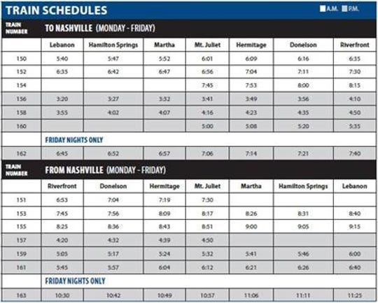 The new schedule for the Music City Star start Aug. 27, when a new train station in Lebanon opens.
