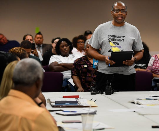Arnold Hayes of Community Oversight Now addresses the Davidson County Election Commission about certifying a petition to put a police community oversight board referendum on the ballot during the commission's meeting Aug. 15. The Metro Council last month elected its 11-member community oversight board, which voters approved by referendum in November.