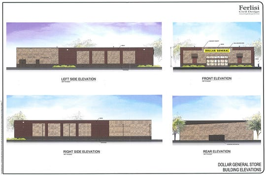 Color building elevations for Fairview's second Dollar General store.