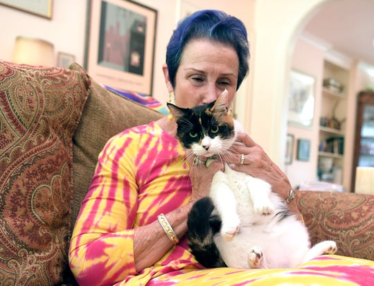 Emily Magid pets her cat, Gem Gem, in her Franklin home on August 14, 2018.