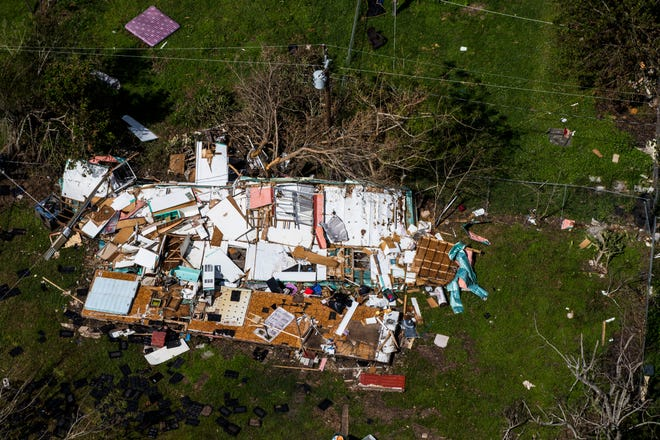 Aerial view of Immokalee on Saturday, Sept. 16, 2017, six days after Hurricane Irma.
