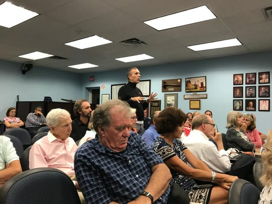 "Resident Tony Schmitz tells the Cedar Grove Zoning Board ""the community is going to lose"" with approval of the St. Mark Coptic Orthodox Church application on Aug. 14, 2018."