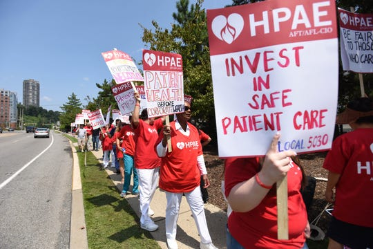 HPAE, the healthcare union, holding informational pickets outside HMH Palisades Medical Center and the Harborage in North Bergen