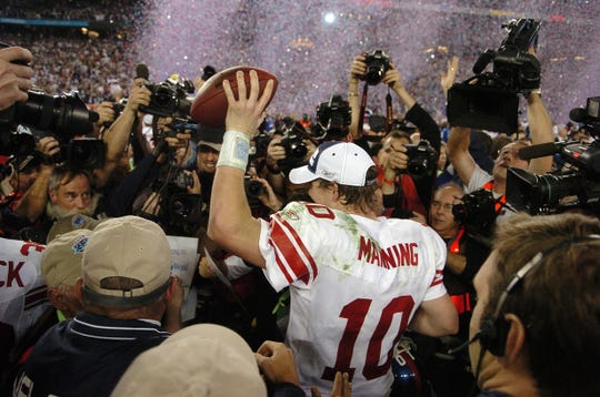 Eli Manning at the end of Super Bowl XLII