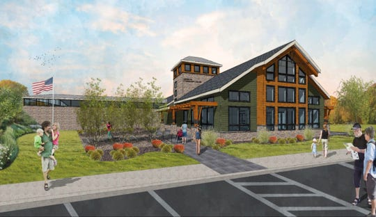 An architectural rendering of the proposed community center and shelter planned for Kinnelon.