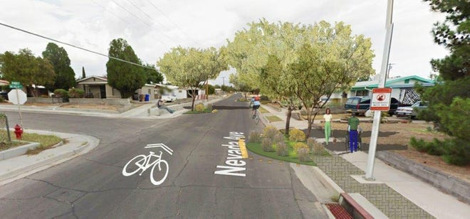 "A view of how Nevada Avenue in Las Cruces will look after the city installs 21 ""chicanes"" on the street as a way to create a ""green corridor."""