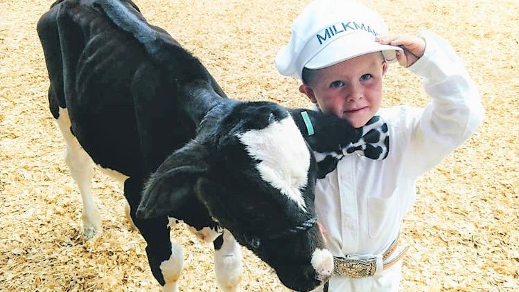 The cutest little milkman at the Lincoln County Fair 2018. Decklen West and his dairy ca;lf stole the show.
