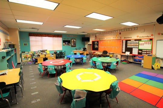 A colorful classroom at White Mountain complex is ready for children to learn and grow.