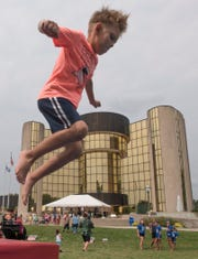 Seven year old David Ramazanov practices his parkour skills with Phoenix Freerunning Academy.