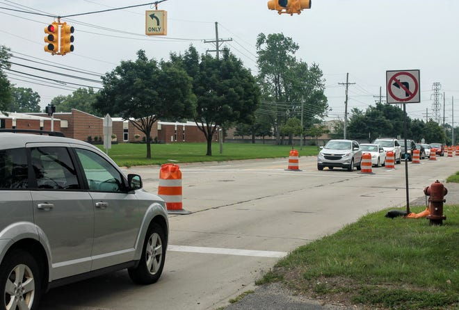 Newburgh Road at the light to enter Churchill High School in Livonia. The road is under construction until at least Labor Day.