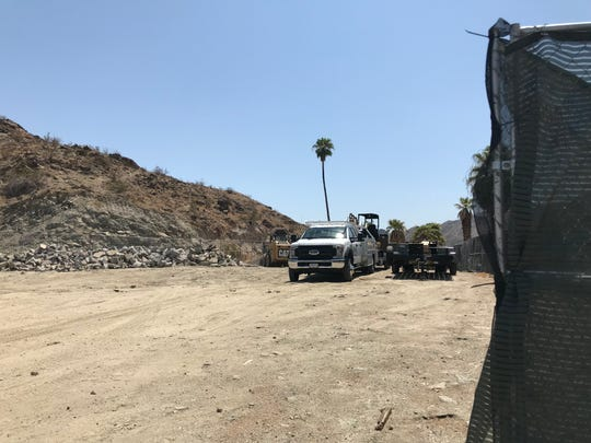 A staging area is set up at the site of the former Chart House restaurant in Rancho Mirage.