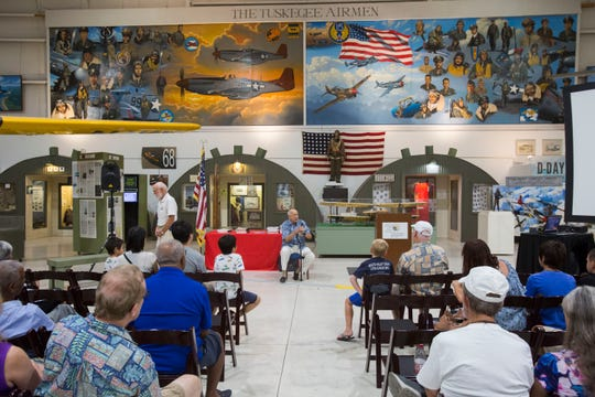 Tuskeegee Airman Rusty Burns gives a presentation at the Palm Springs Air Museum on Aug. 15, 2018.