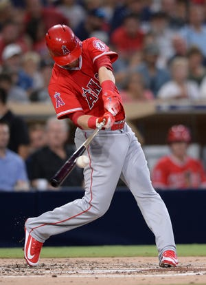 Los Angeles Angels' Taylor Ward doubles during the second inning of a baseball game against the San Diego Padres Tuesday, Aug. 14, 2018, in San Diego. The hit was Ward's first major league hit. (AP Photo/Orlando Ramirez)