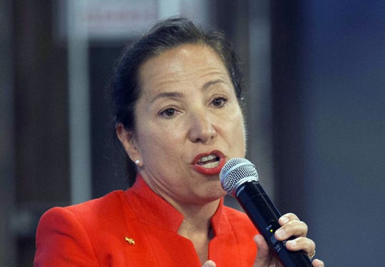 In this file photo, Eleni Kounalakis speaks during a debate sponsored by the Sacramento Press Club.