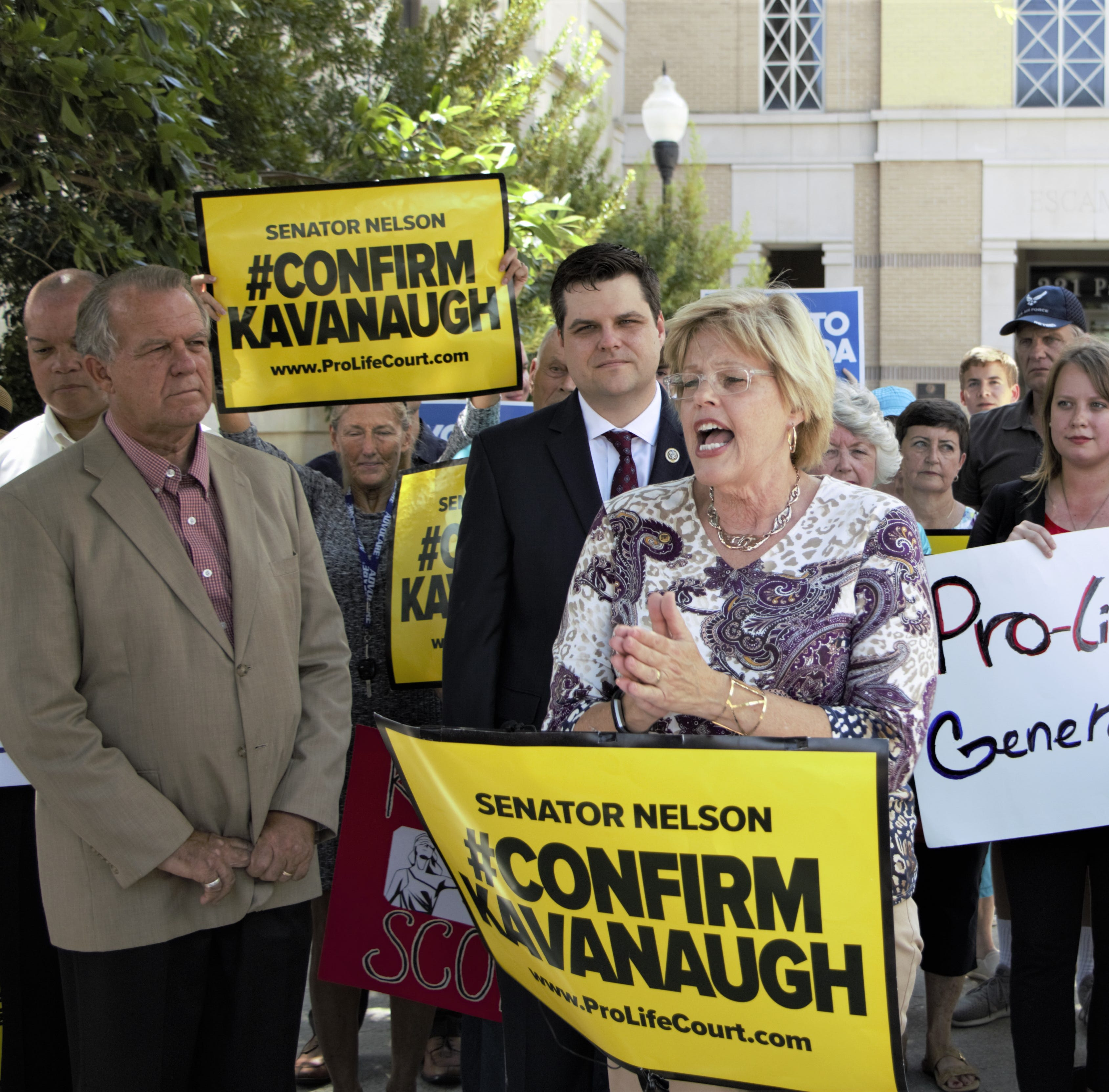 Anti-abortion advocates gather in Pensacola to urge Bill Nelson to confirm Brett Kavanaugh