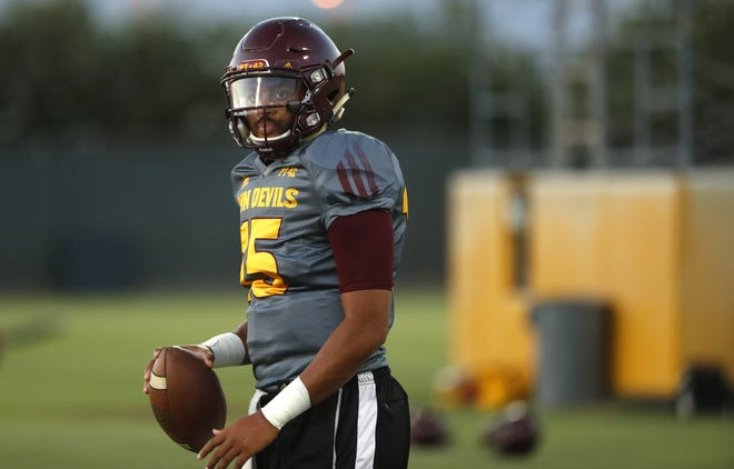 ASU's Dillon Sterling-Cole (15) throws a pass during a practice at Kajikawa Football Practice Fields in Tempe, Ariz. on Aug. 6, 2018.