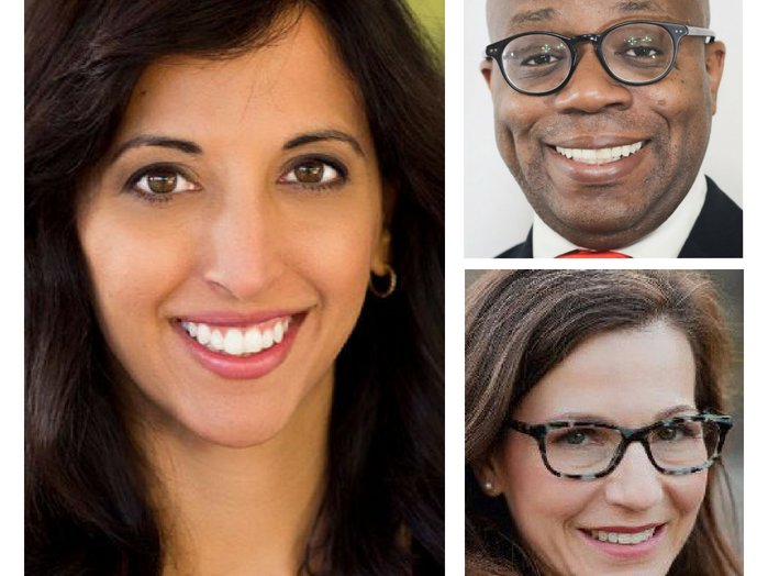 Congressional District 6 Democratic candidates (clockwise from left) Anita Malik, Garrick McFadden and Heather Ross.