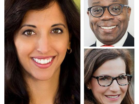 Congressional District 6 Democratic candidates (clockwise from left) Anita Malik, Garrick McFadden and Heather Ross.
