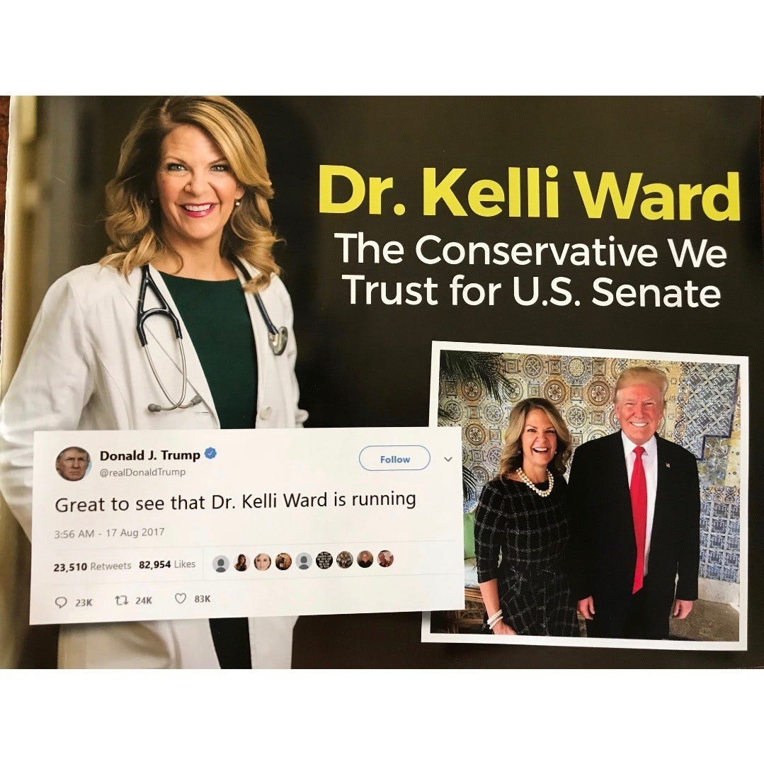 Kelli Ward doctors President Trump tweet in campaign mailer 2 weeks before Senate primary
