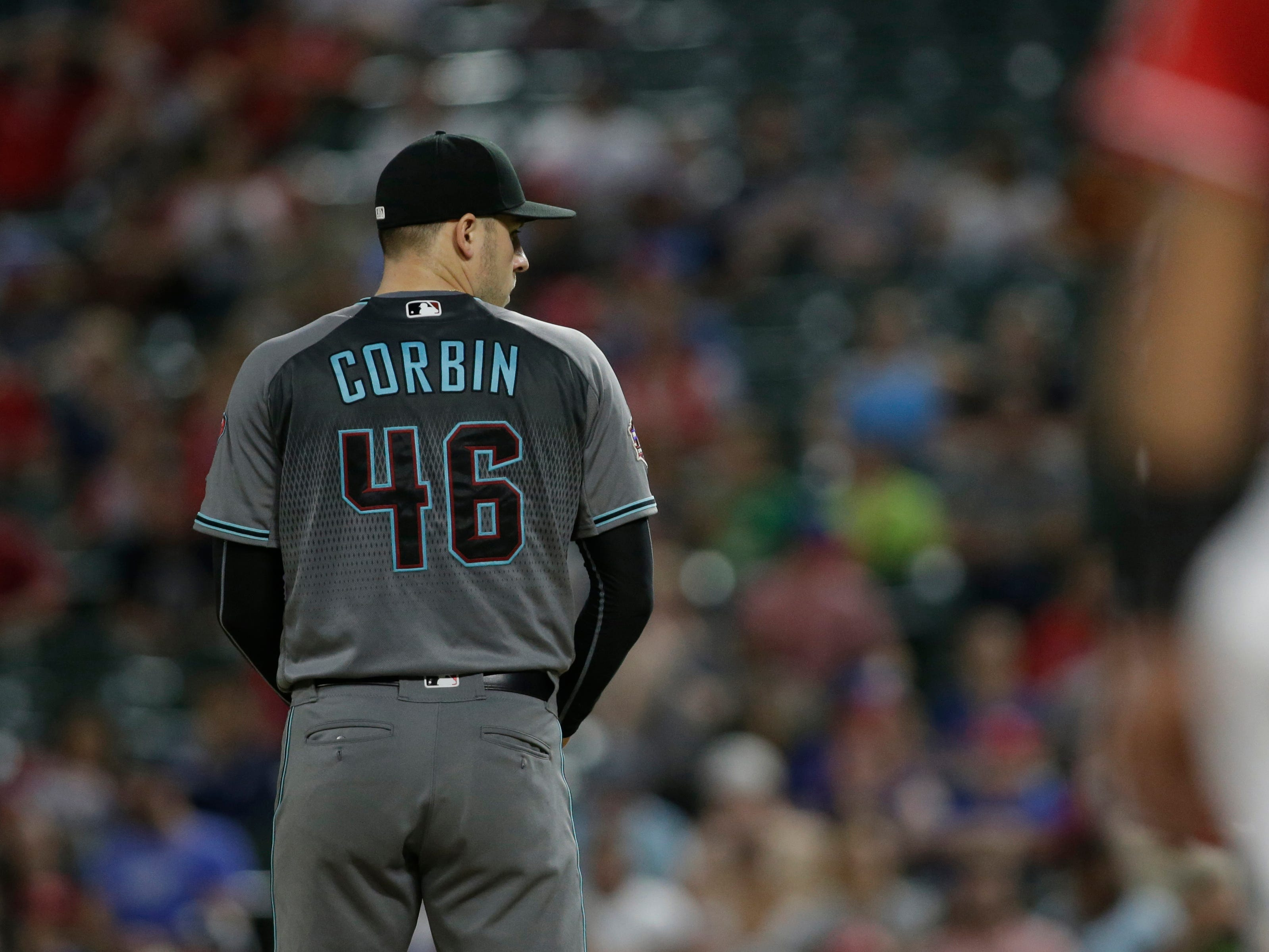 Aug 14, 2018: Arizona Diamondbacks starting pitcher Patrick Corbin (46) stands on the mound in the fourth inning against the Texas Rangers at Globe Life Park in Arlington.