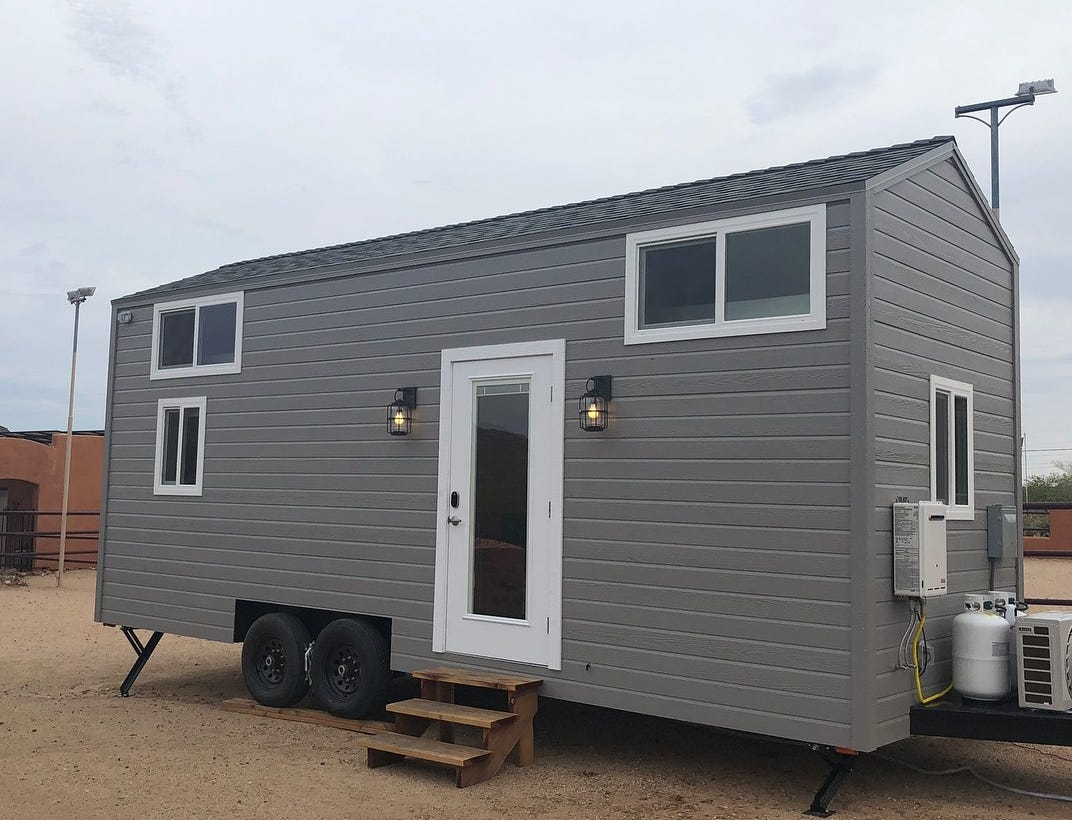 Another view from the outside of another tiny home.